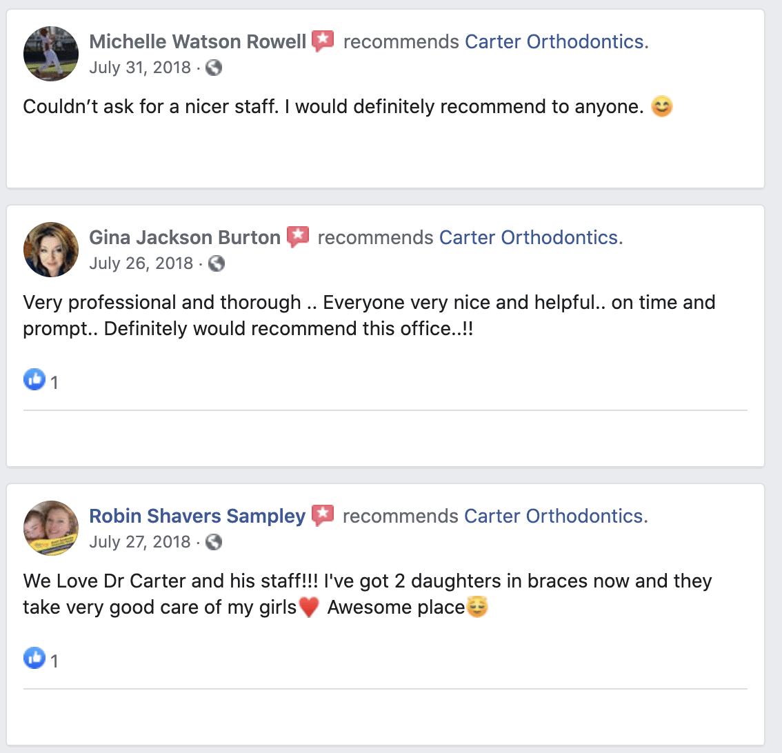 Carter Orthodontics Facebook Reviews
